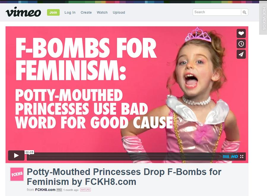 Pretty potty-mouth princesses \\ A screenshot of the viral video,