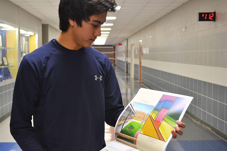 Surprised+Schoeck+%5C%5C+Unknown+to+sophomore+Nathan+Schoeck%2C+art+teacher+Angela+Gilpin+entered+his+artwork+into+the+PBK+Architectural+Calendar+Art+Contest.+Schoeck%27s+illustration+won+and+will+be+featured+in+the+2015+calendar.+