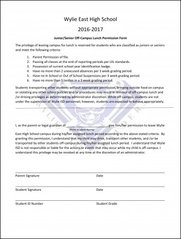 2016-2017 junior, senior off-campus lunch permission form released