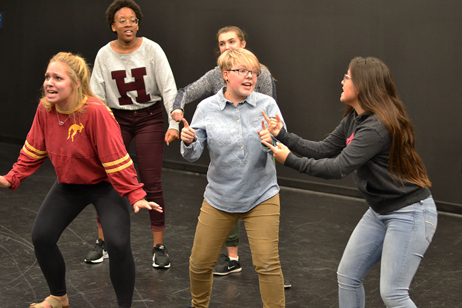 Insane+improv+%2F%2F+Acting+out+an+improv+game+called+Shopping+Center%2C+sophomore+Cecil+Pulley+and+senior+Allison+Straka+reminisce+about+80s+music+and+the+good+old+days+of+music+in+a+knitting+store.+The+group+has+been+practicing+for+the+Dionysius+Improv+Competition+on+Nov.+11.+These+thespians+are+part+of+the+group+that+is+participating+in+the+car+wash.+