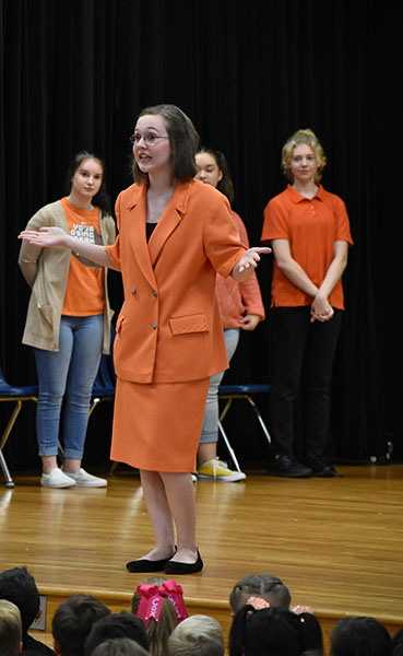 Ol' razzle dazzle // Playing Mrs. Dazzle, principal of 'Fairytale Elementary' in Rewind Faires, junior Emilie Johns sets the scene for the young students of Cox Elementary. Rewind Fairies participates in the anti-bullying movement with everything in the show revolving around the 'Golden Rule.'