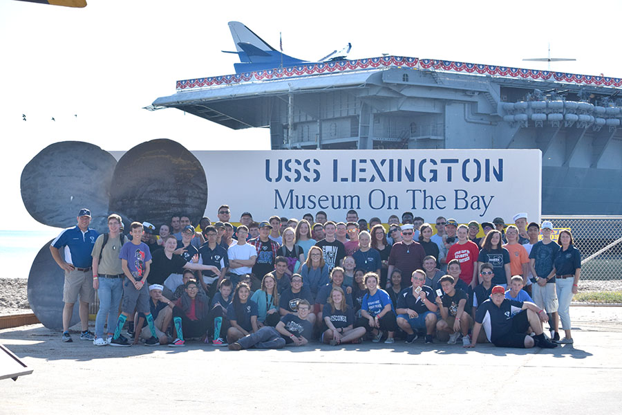 "All aboard // JROTC cadets visit the USS Lexington, ""The Blue Ghost"" Oct. 8. ""My favorite part was the aircraft on the flight deck,"" first-year cadet Ethan Myers said. ""I want to be a pilot in the Air Force when I'm older and seeing what it was like was a super cool experience."""