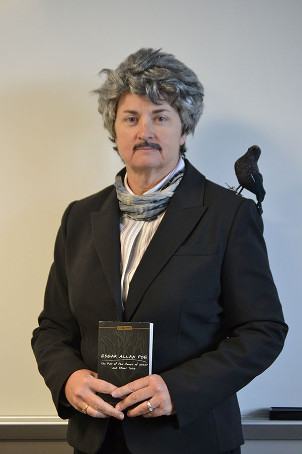 Poe show // English IV teacher, Sharyn Vernon dresses up as Edger Allen Poe during Teen Read week.
