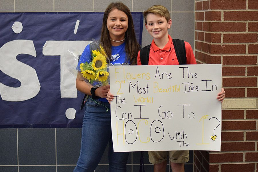 Hoco+propo+%5C%5C+Freshman+Zander+Carker+asks+freshman+Kaileigh+Contreras+to+attend+homecoming+with+him+using+a+poster+that+read+%E2%80%9CFlowers+are+the+second+most+beautiful+thing+in+the+world%21+Can+I+go+to+Hoco+with+the+first%3F%22