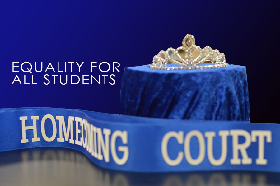 Homecoming out \\ Homecoming court shouldn't have to follow gender norms. Two people, not one prince and one princess, should be recognized for each grade level.