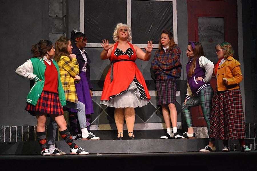 Downtown+%2F%2F+Sophomore+Jamie+Gammon%2C+portraying+a+frustrated+Audrey%2C+sings+%E2%80%9CSkid+Row+%28Downtown%29%E2%80%9D+while+surrounded+by+the+Doo-Wop+girls+during+a+dress+rehearsal+of+Little+Shop+of+Horrors+Jan+15.