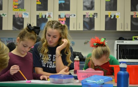 Softball players mentor to elementary students before school