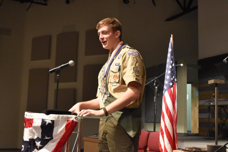 Badged+up+%2F%2F+Covered+in+medals%2C+senior+Wylie+Dunham+expresses+his+gratitude+to+his+family+and+friends+as+he+receives+his+rank+as+Eagle+Scout.+Dunham+has+been+a+Boy+Scout+for+six+years+and+worked+hard+for+the+past+two+years+to+earn+the+title+of+Eagle+Scout.+%E2%80%9CAll+my+time+and+hard+work+finally+paid+off+and+it%E2%80%99s+now+going+to+benefit+me+in+the+future%2C%E2%80%9D+Dunham+said.