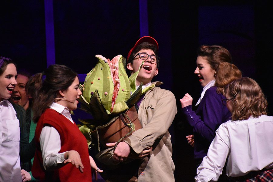 Sudden+success+%2F%2F+Singing+Ya+Never+Know+during+a+dress+rehearsal+of+Little+Shop+of+Horrors%2C+Seymour+Krelboyne%2C+played+by+freshman+Elbert+Haney%2C+is+surrounded+by+Doo-Wop+girls+senior+Macy+Herrera%2C+junior+Cecil+Pulley+and+sophomore+Iris+Kurz+as+they+sing+about+his+recent+success+stemming+from+the+plant%2C+Audrey+II.+Haney+received+a+nomination+for+Best+Leading+Actor+alongside+other+nominations+with+castmates+and+crew.++