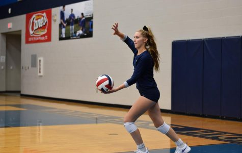 First come, first serve // Serving the ball to the opposing team, sophomore Morgan Haaland plays against Mesquite High School Sept. 5. Junior varsity defeated Mesquite 3-0.