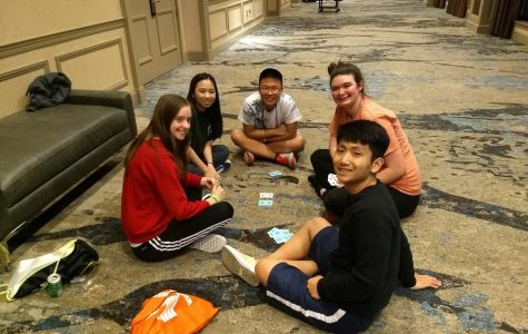 Fun times // Playing cards, BPA students have fun while competing for Nationals March 6-9. Senior Layne Parrish, Junior Jason Chu, Jaron Harberson and Phillip Mai were invited to nationals in California.