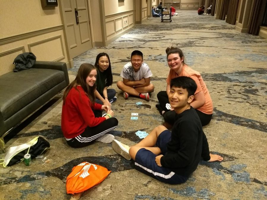 Fun+times+%2F%2F+Playing+cards%2C+BPA+students+have+fun+while+competing+for+Nationals+March+6-9.+Senior+Layne+Parrish%2C+Junior+Jason+Chu%2C+Jaron+Harberson+and+Phillip+Mai+were+invited+to+nationals+in+California.