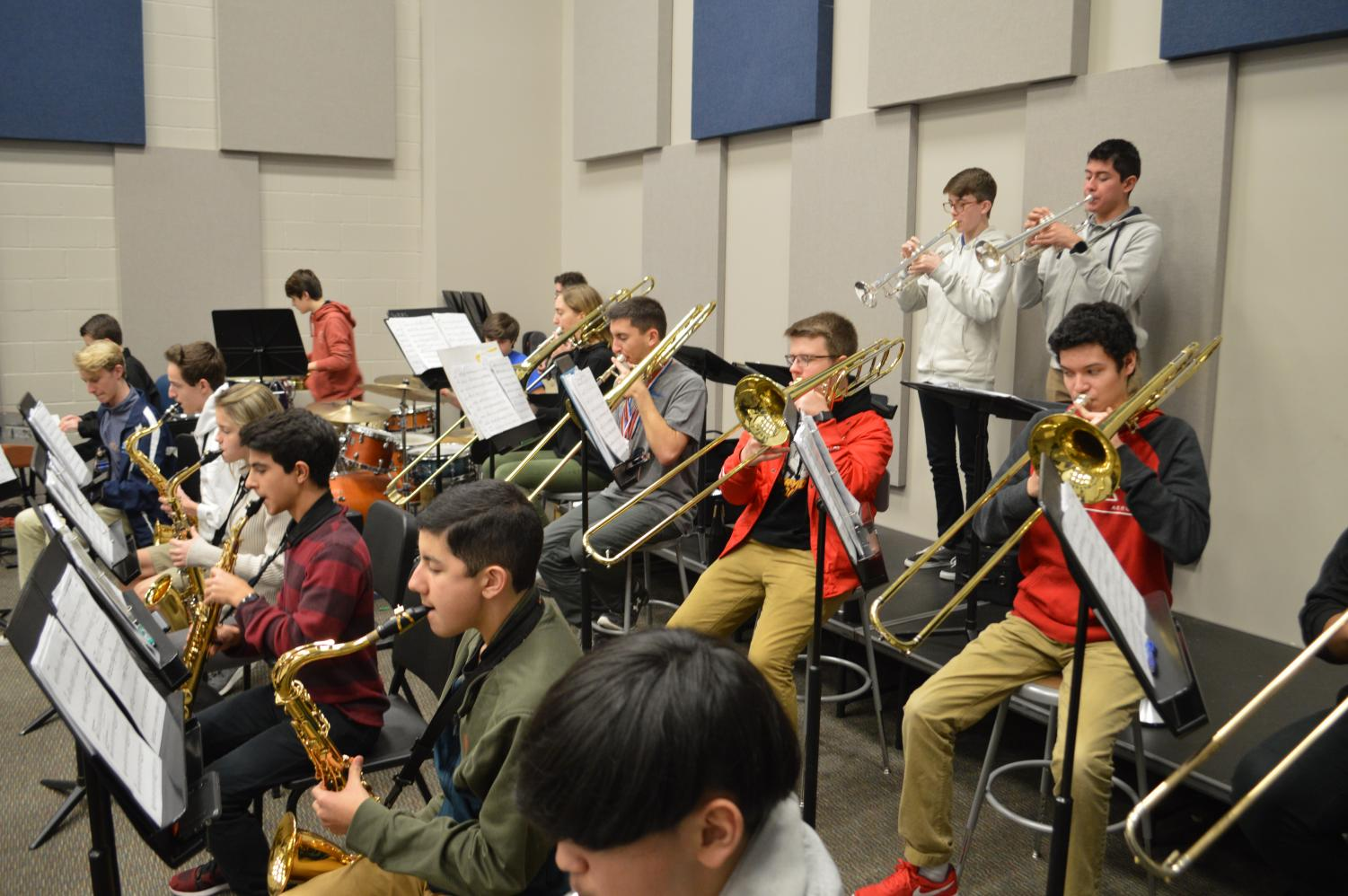 "Take notes // The varsity jazz band begins practicing their music in the beginning of the semester. Jazz band demonstrated their dedication in the TCU Jazz Festival. ""It was a really cool experience,"" sophomore Victor Cruz said."