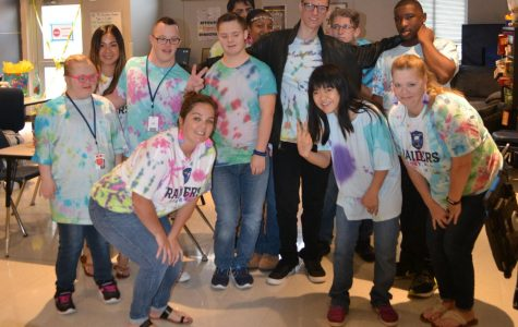 """To dye for \\ FASE students tie-dyed t shirts and socks for the spirit-themed day. They gifted the shirts to the assistant principals. """"The shirts are all unique, and I think that's representative of everyone at this school,"""" assistant principal Angela Arp said."""