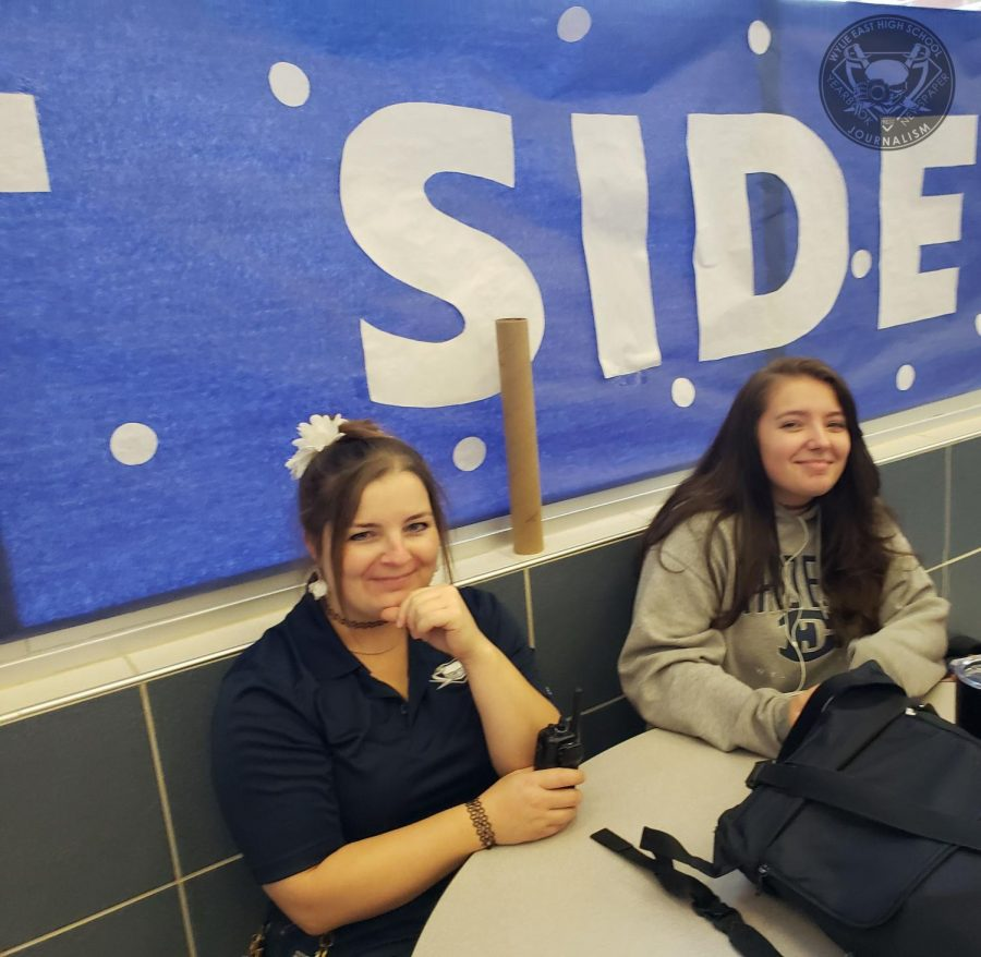 Custodian Ewelina Lyons and her daughter Ania Lyons visit together during lunch. November is the national month of inspirational role models and Mrs.Lyons states that her daughter is her role model.
