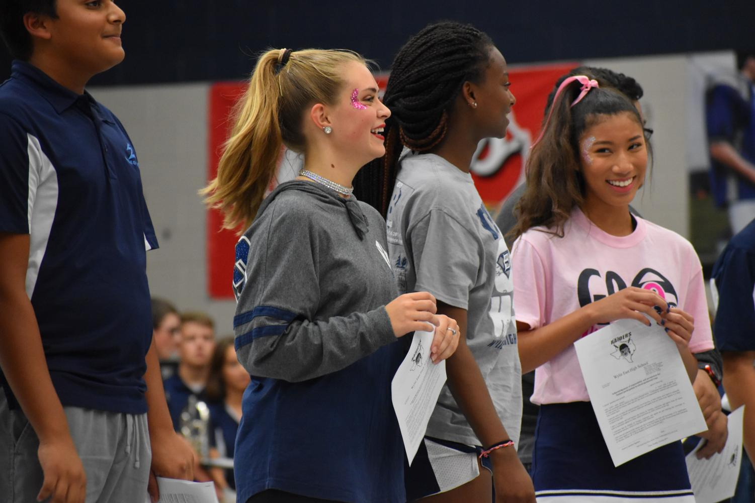 Crownworthy \\ Basking in the moment, junior Audrey Wentz finds out that her peers nominated her for the homecoming court. All nominees were announced during the Pink Out pep rally Oct. 4.
