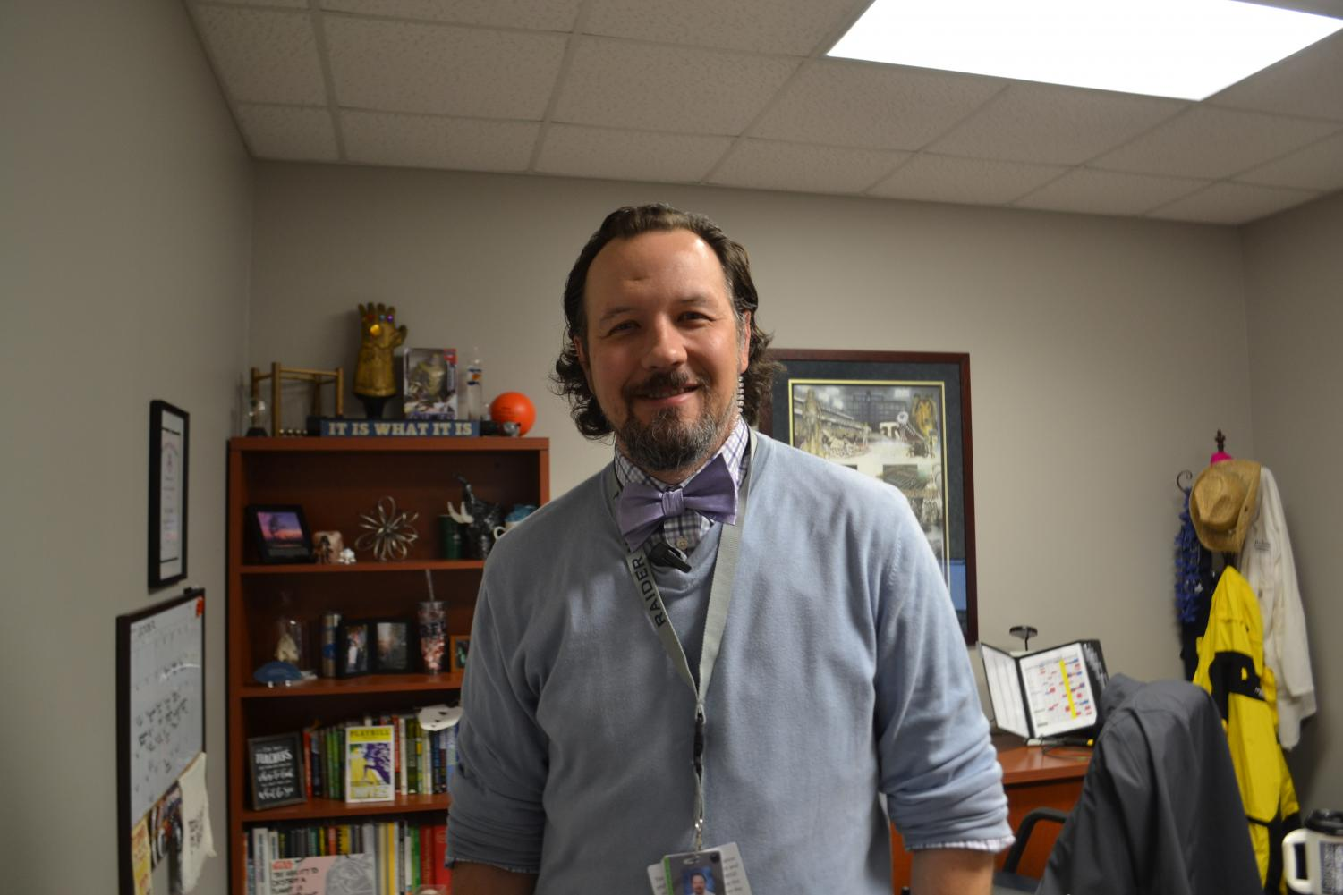 "Tie it up Tuesday // Mr. Cravens shows off his Nov. 5 Tuesday bow tie. ""I was looking for a fun way to dress up and wear something different than a Wylie East polo,"" Mr.Cravens said."