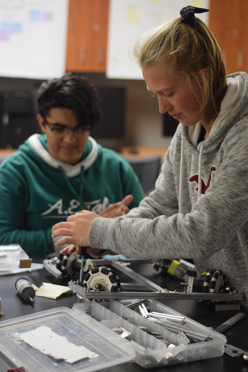With all the Fixin's \\ Senior Anna Baker prepares team 8204's robot for the upcoming First Tech Challenge competition. The FTC competition pushes the limits of the robots' design with fast-paced obstacles that the robot must complete.