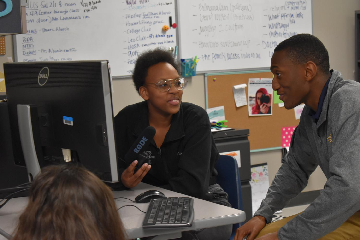Sharing+stories+%5C%5C+Conversing+in+a+podcast+for+Black+History+Month%2C+seniors+Valerie+Msafiri+and+Enoch+Olajimi%2C+talk+about+African-American+culture+in+their+sixth+period+Newspaper+class.+%0Aphoto+by+Katie+Borchetta