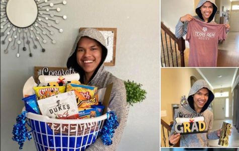 """Family Gift // Senior Nathan Paola receives his gift from Candice Lawrence, his adopter.  """"I am not just a teacher, they are not just my students. Their parents aren't just parents, we are all a family,"""