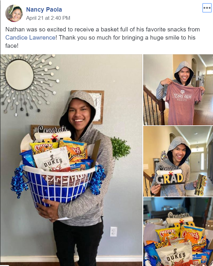 "Family Gift // Senior Nathan Paola receives his gift from Candice Lawrence, his adopter.  ""I am not just a teacher, they are not just my students. Their parents aren't just parents, we are all a family,"