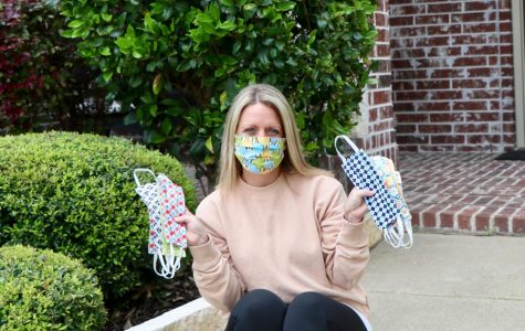 """Mask market \\ Showing off her recent hobby, local resident Jill Sheffler displays her DIY masks to give to nurses and those in need during the Covid-19 pandemic. """"I loved being creative and gifting to others,"""" Sheffler said."""