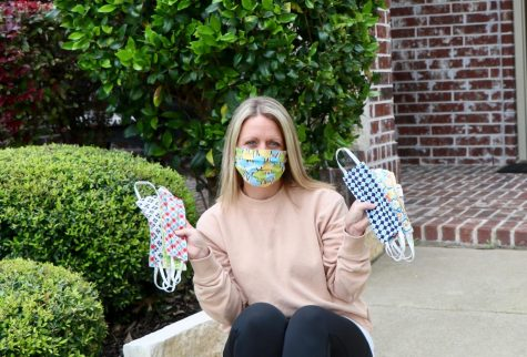 "Mask market \ Showing off her recent hobby, local resident Jill Sheffler displays her DIY masks to give to nurses and those in need during the Covid-19 pandemic. ""I loved being creative and gifting to others,"" Sheffler said."