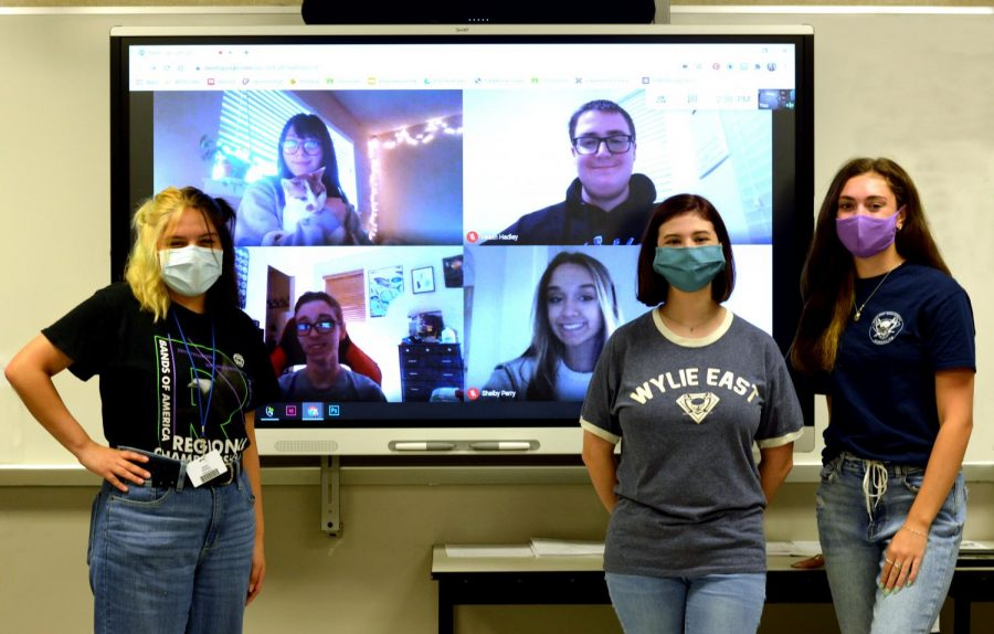 Unmasked \\ Meet the 2020-2021 Blue Print newspaper staff. On-campus reporters are sophomores Jaylee Paredes and Hannah Hansen and senior Katie Borchetta. Reporting from home are Juniors Andrea Ensign (and intern PeePee), Heath Hadley, Braydon Pyles and Shelby Perry.