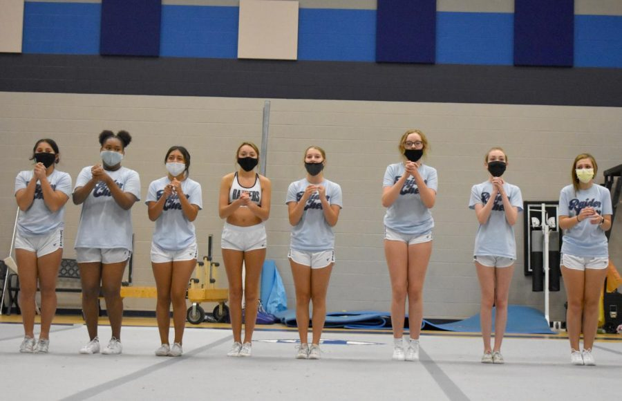Fair to all \\ Freshmen practice in the gym before school Aug. 25. Cheerleading and drill team are required to wear masks at all times and social distance more than six feet.
