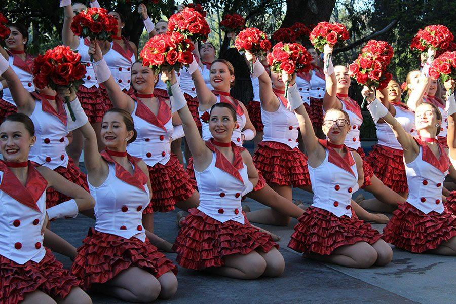 Dancing in the streets \\ The Sapphires perform in the Tournament of Roses parade Jan. 2. An invitation from HTE was extended to the drill team due to multiple wins last year.