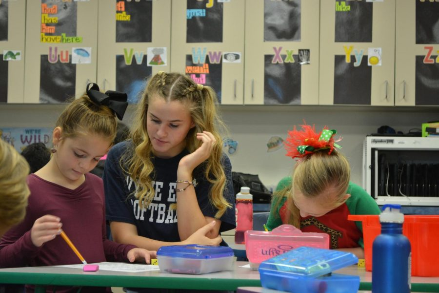 Having a ball \\ Every Thursday before their own school starts, softball players went to Akin and Smith elementaries to mentor students.