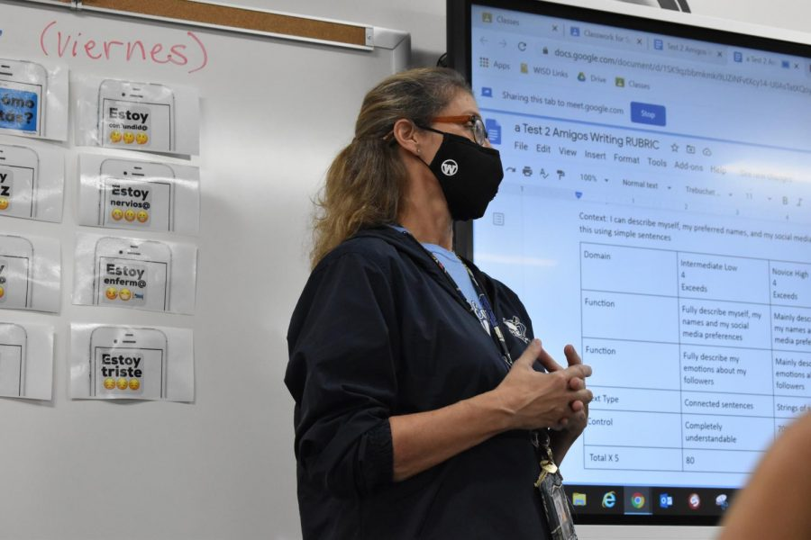 Lights; camera; action // Going over their last test data, Spanish II teacher Lisa Crosthwait reviews with her PAP Spanish II class on what she was looking for in their answers Sept. 18.