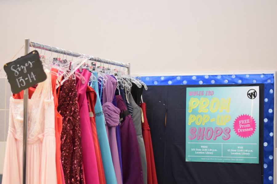 Shop till you drop // In the library there is a prom pop-up shop for students to get free dresses if they need them. It is open on March 31 from 12:30 to 1:30 and April 1 from 12:40 to 1:40.