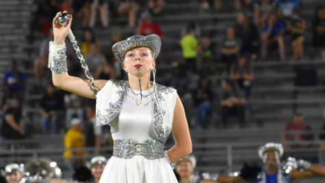 In charge \\ Senior Julia Borsack leads the Sapphires at half time during the first home game of the year Aug. 27.